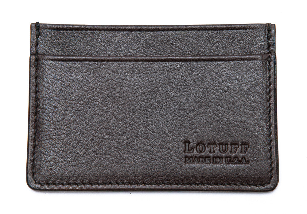 Front View of Leather Credit Card Wallet Chocolate
