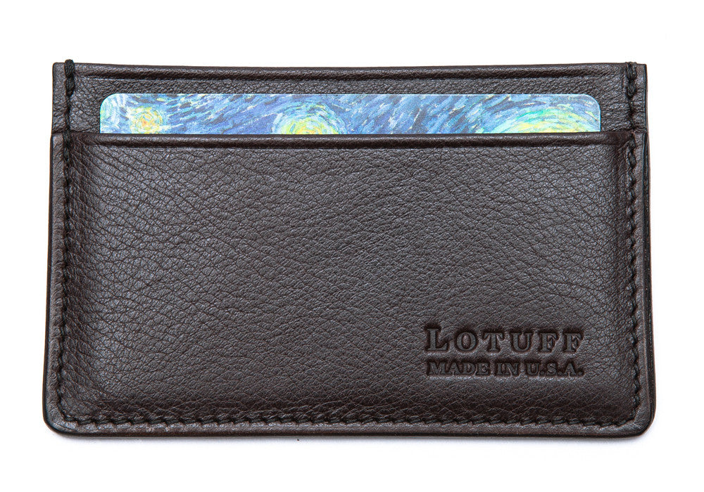 Front View Full of Leather Credit Card Wallet Chocolate