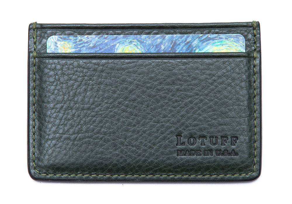Front View of Leather Credit Card Wallet Green
