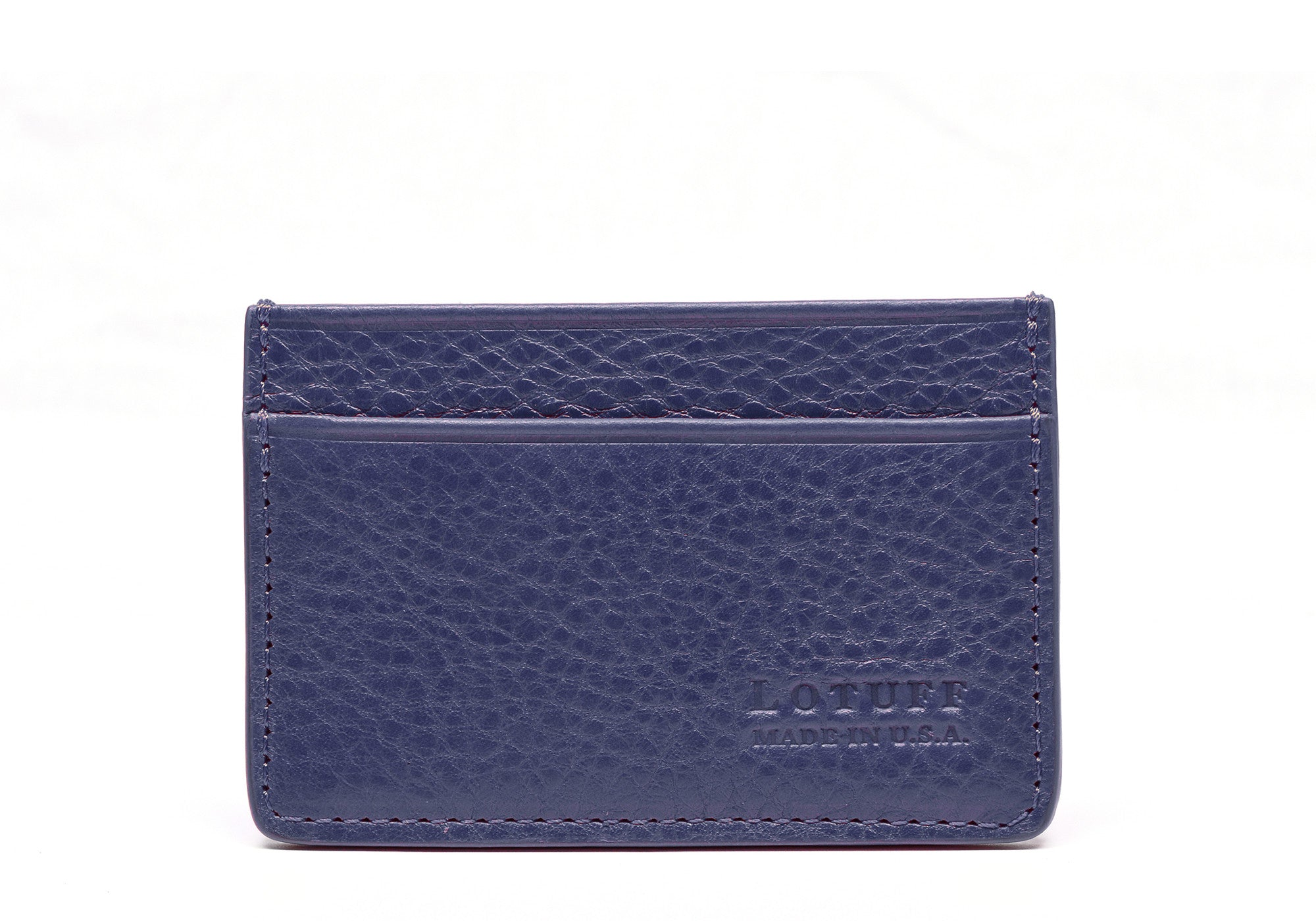 Front View Closed of Leather Credit Card Wallet Indigo