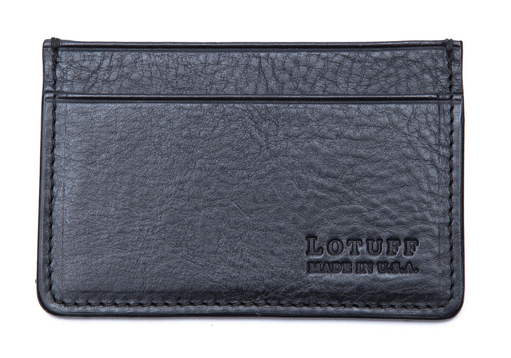 Front View of Leather Credit Card Wallet Navy