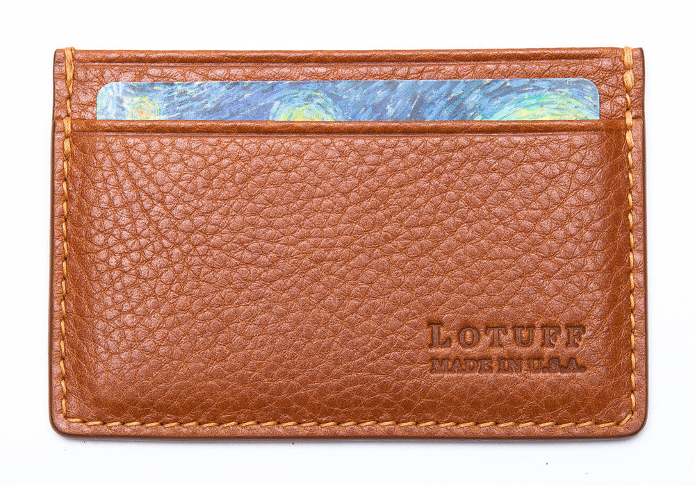 Front View of Leather Credit Card Wallet Tan