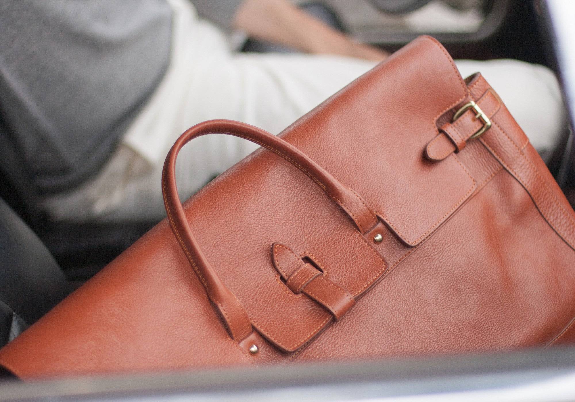 Front View of Leather Day Satchel Saddle Tan