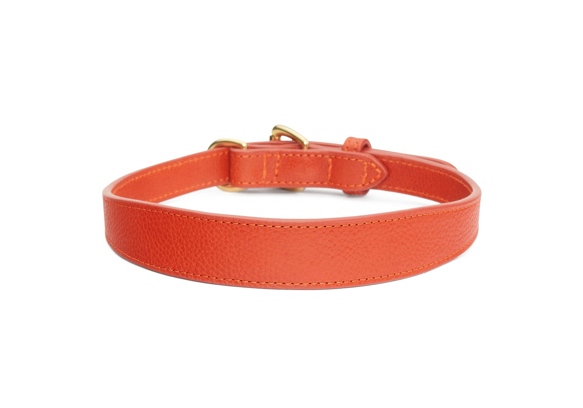 Large Leather Dog Collar Orange