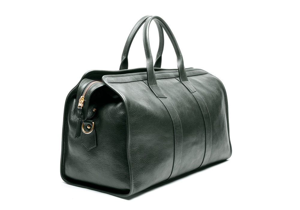 Front Side View of Leather Duffle Travel Bag Green