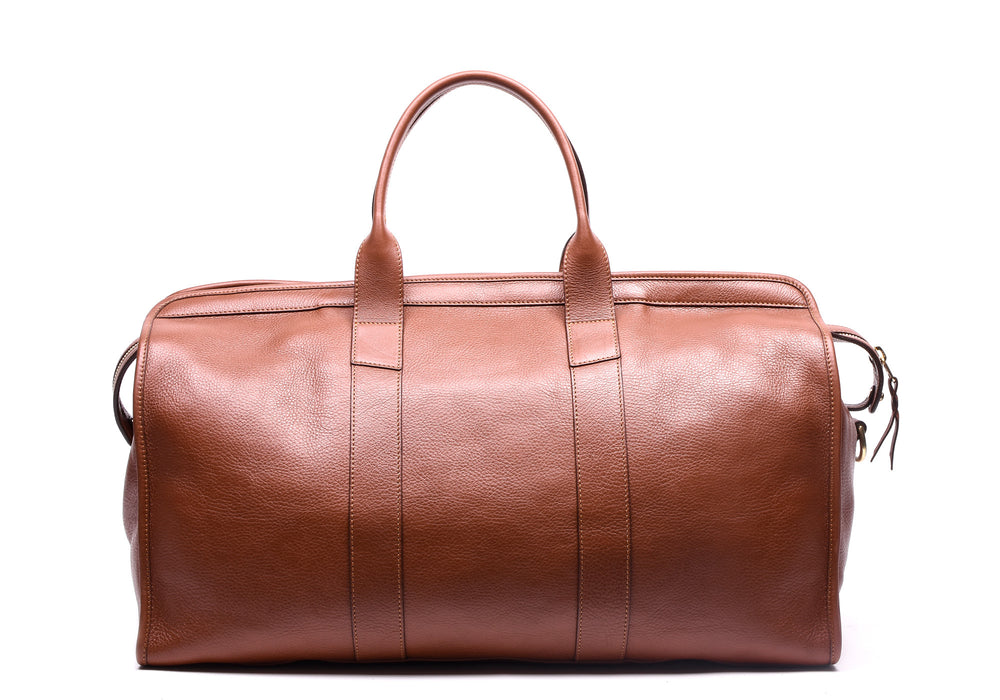 Back Leather View of Leather Duffle Travel Bag Saddle Tan
