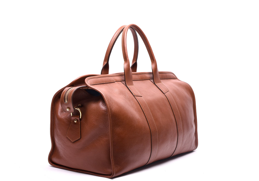 Front Side Angle of Leather Duffle Travel Bag Saddle Tan