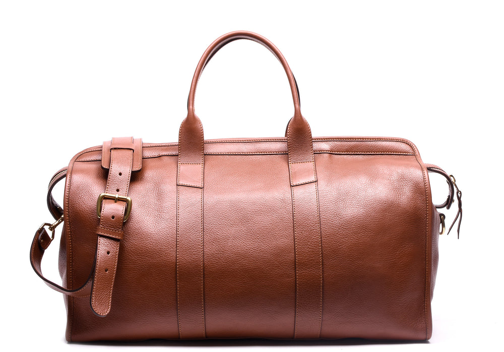 Front View of Leather Duffle Travel Bag Saddle Tan