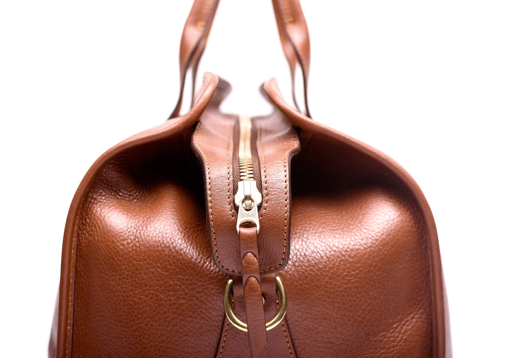 Zipper and Straps of Leather Duffle Travel Bag Saddle Tan