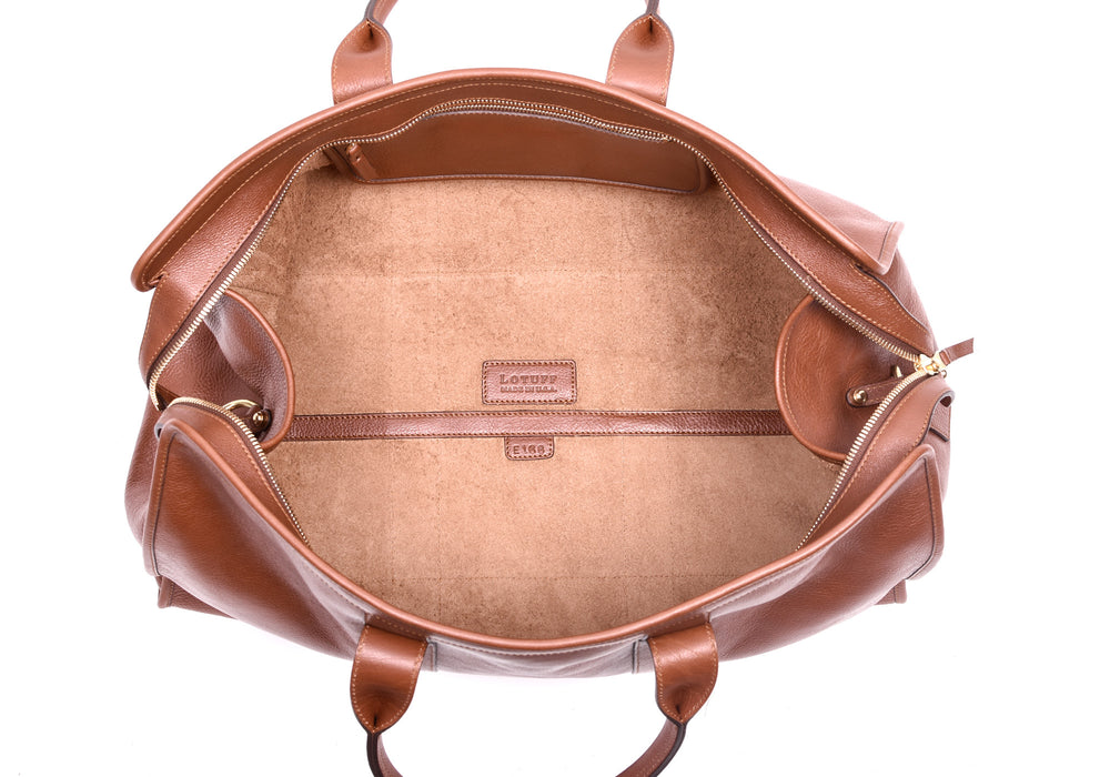 Inner Leather View of Leather Duffle Travel Bag Saddle Tan