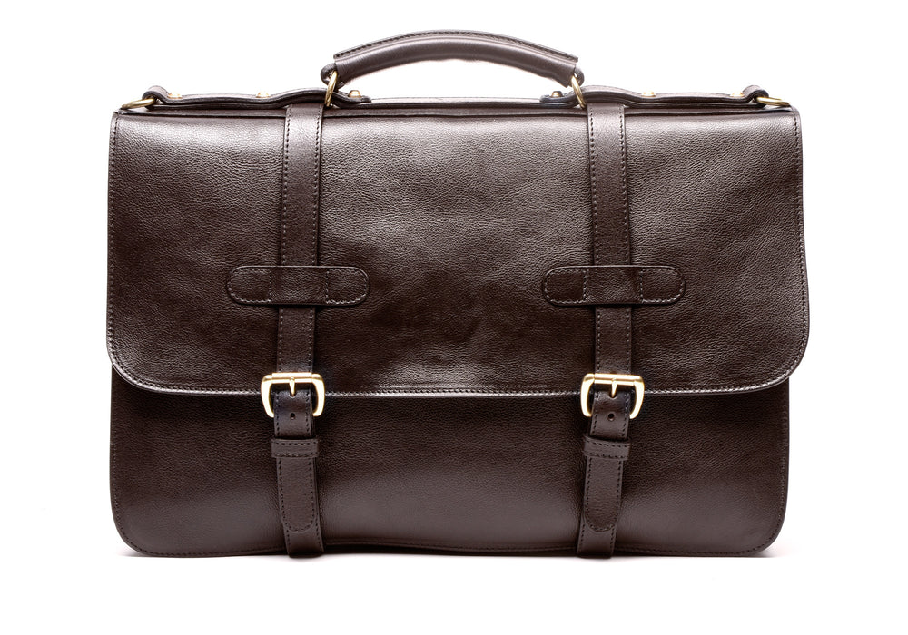 Front Leather View of English Briefcase Chocolate