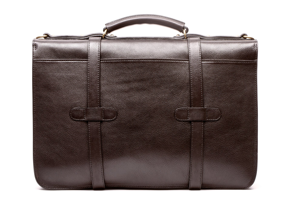Back Leather View of English Briefcase Chocolate