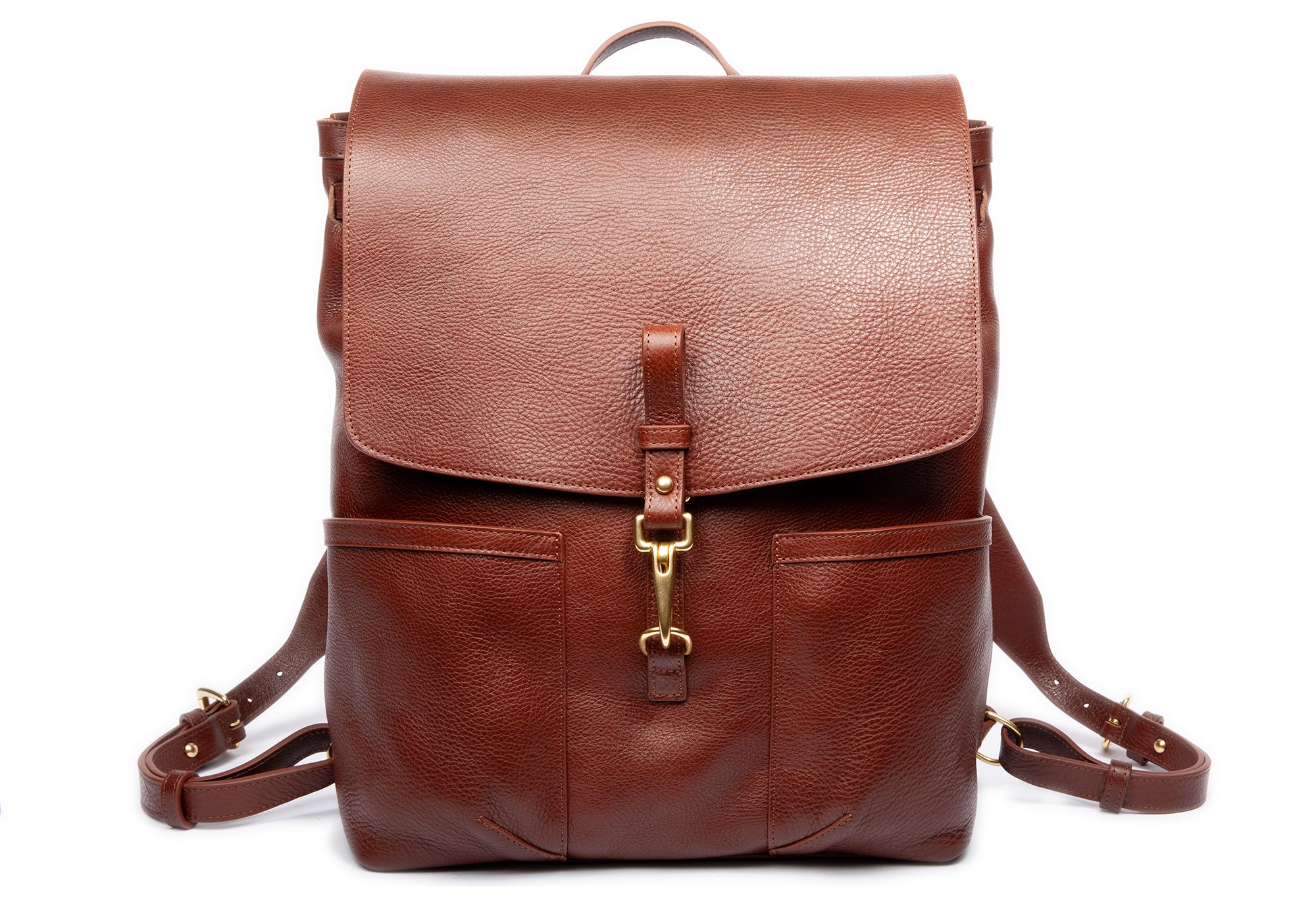 Front View of Leather Knapsack Chestnut