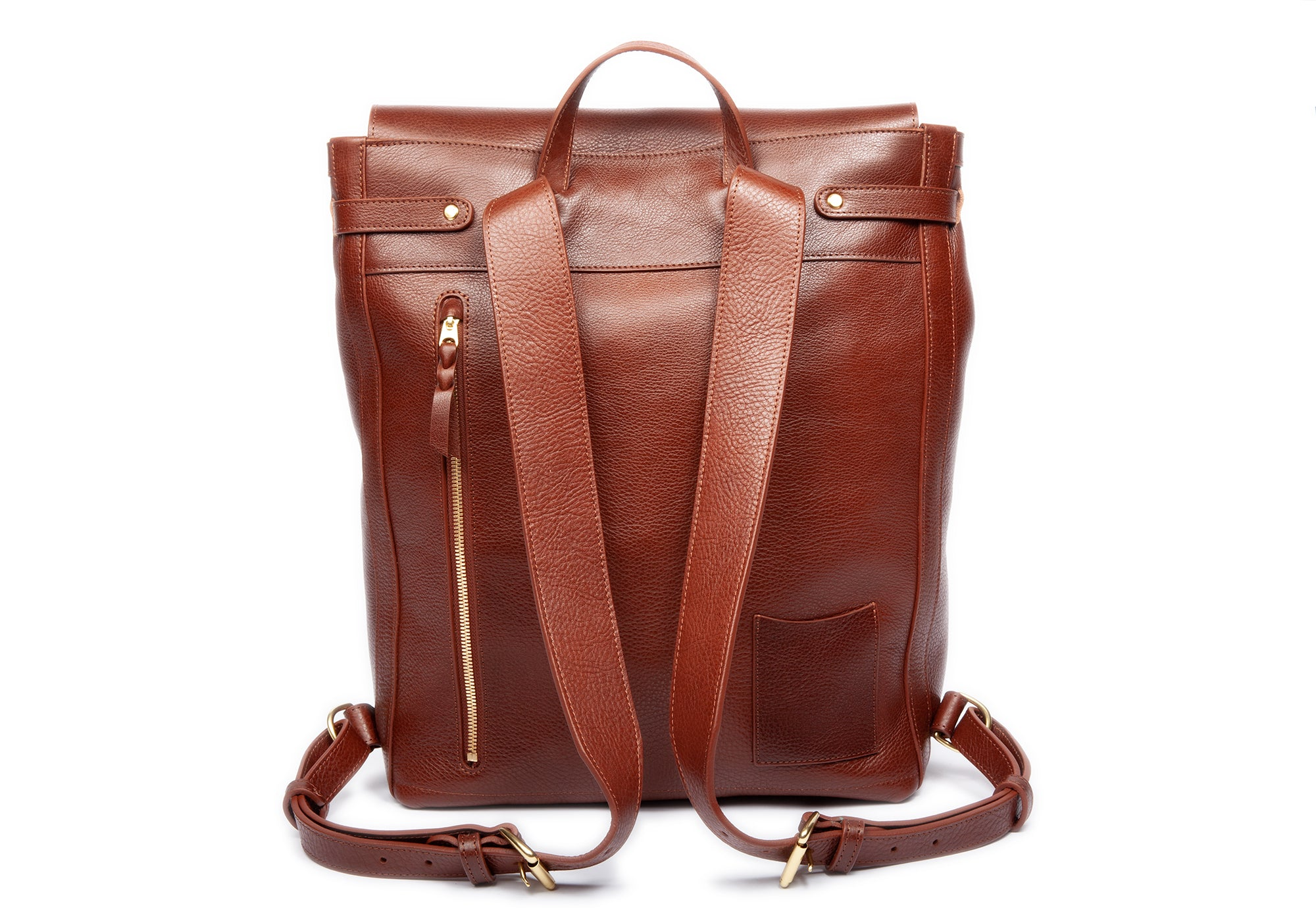 Back Leather Strap View of Leather Knapsack Chestnut