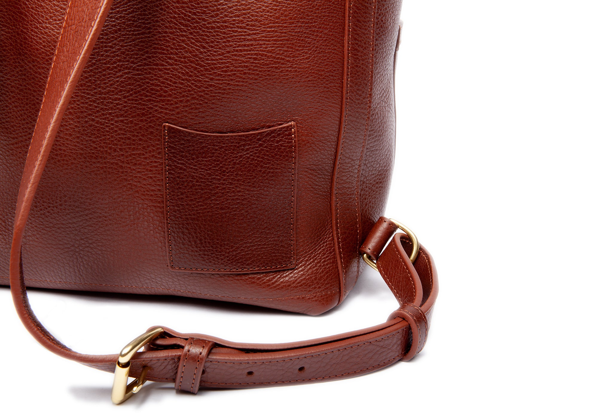Back Close Up  of Leather Knapsack Chestnut