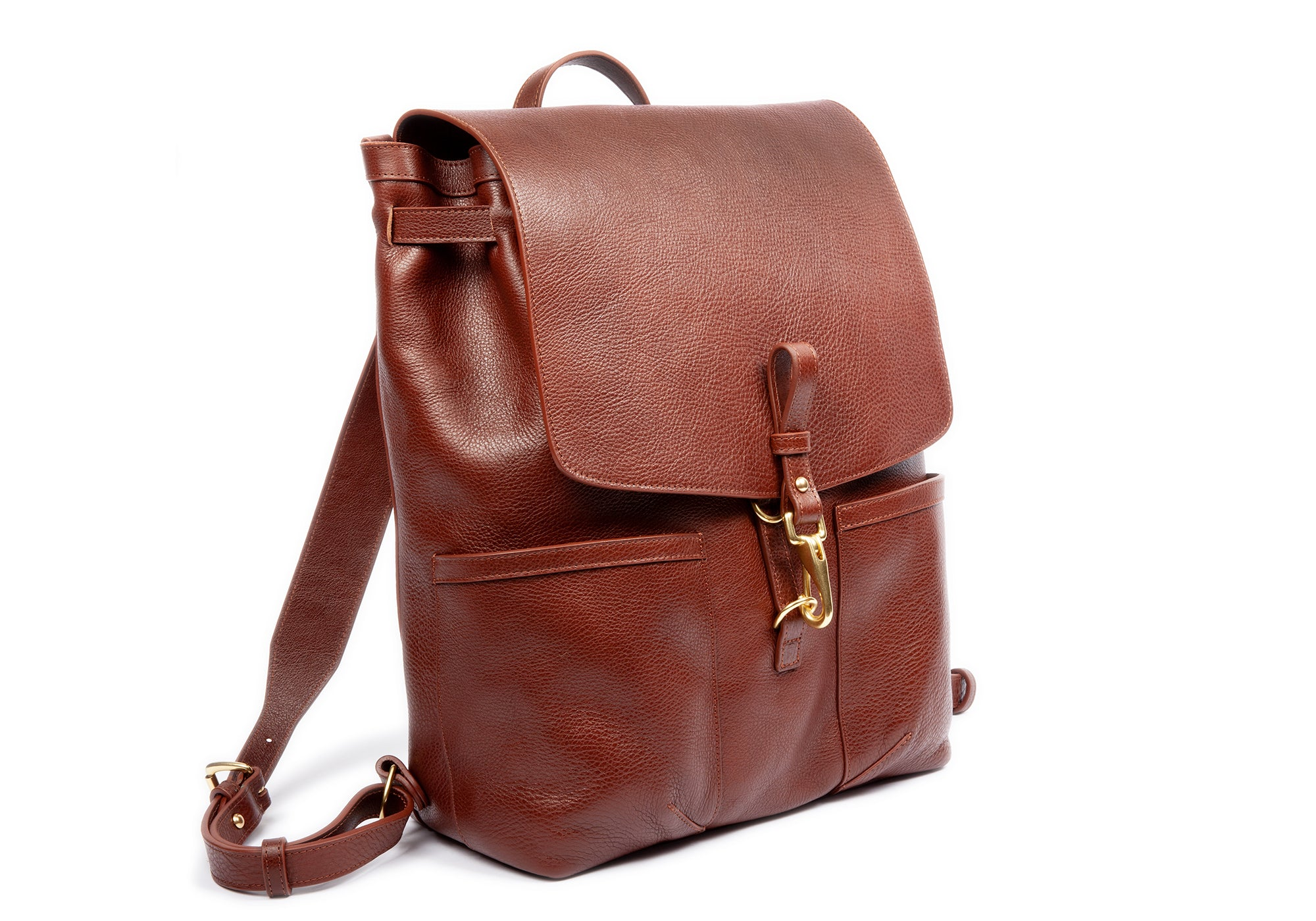Full Leather Backpack View of Leather Knapsack Chestnut