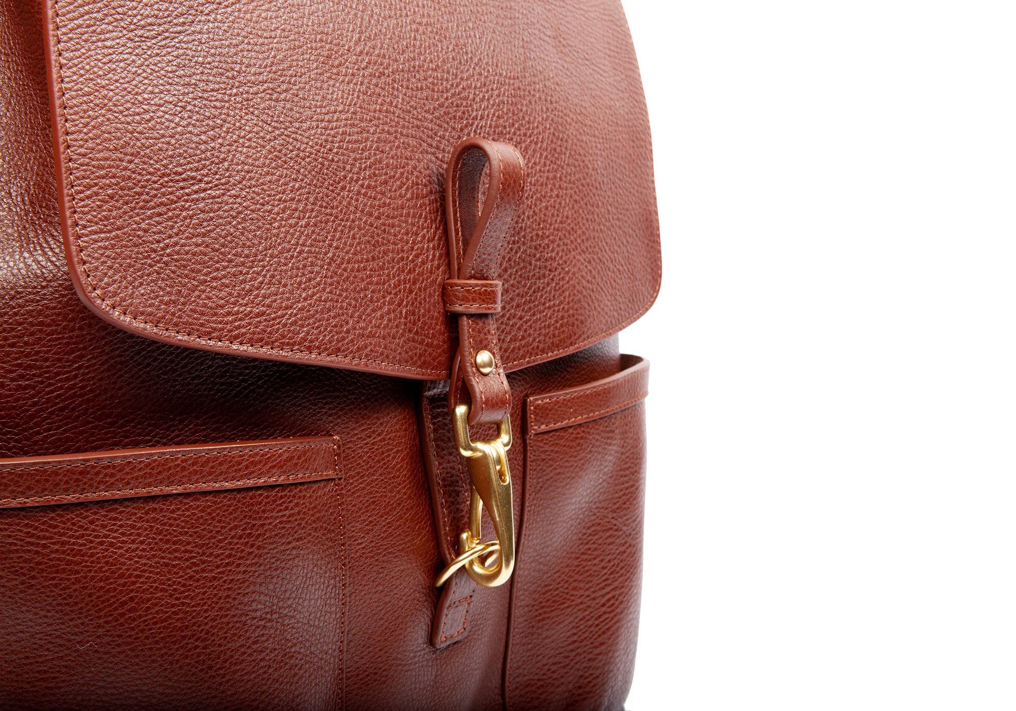 Leather Snap View of Leather Knapsack Chestnut