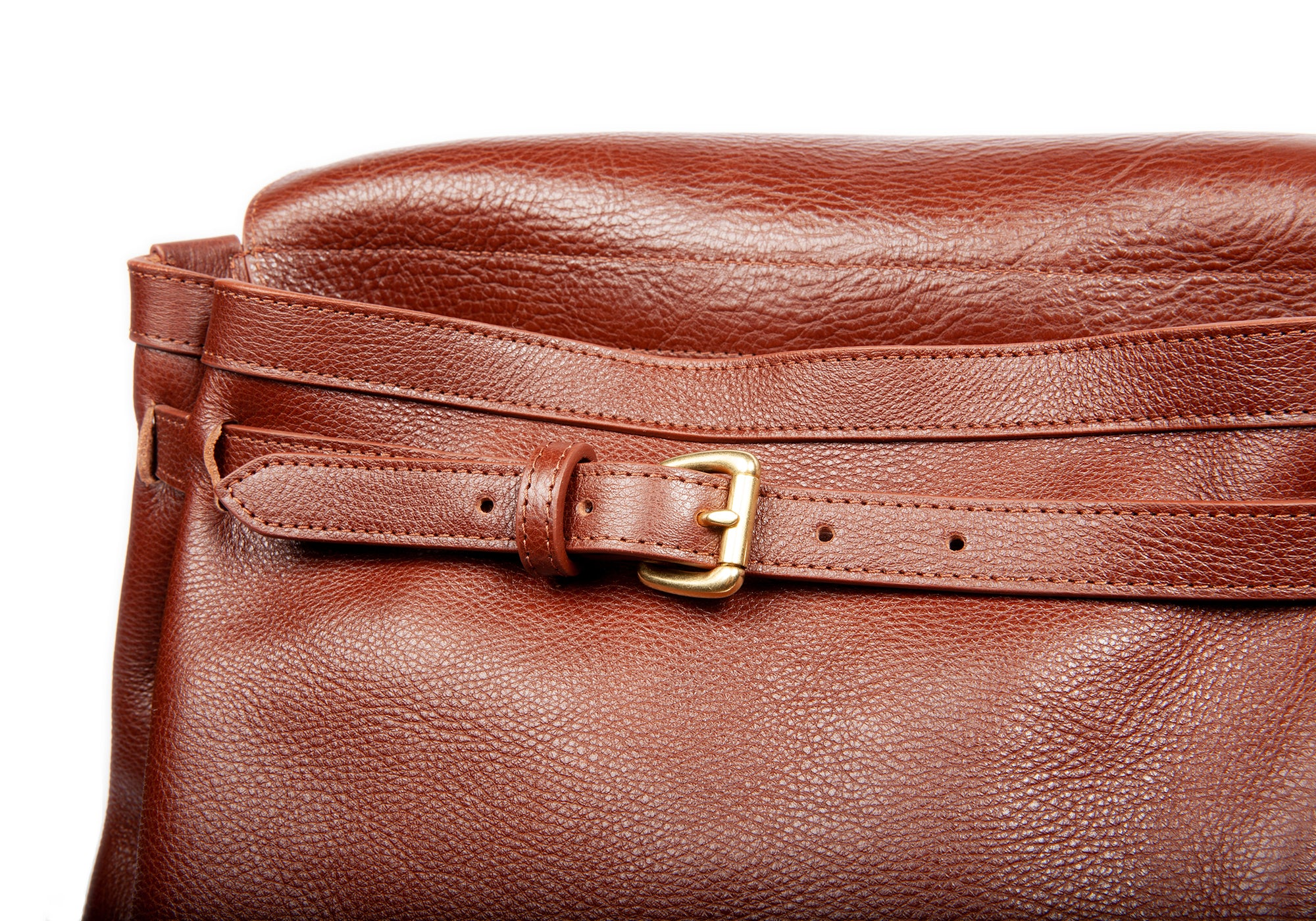 Leather Buckle View of Leather Knapsack Chestnut