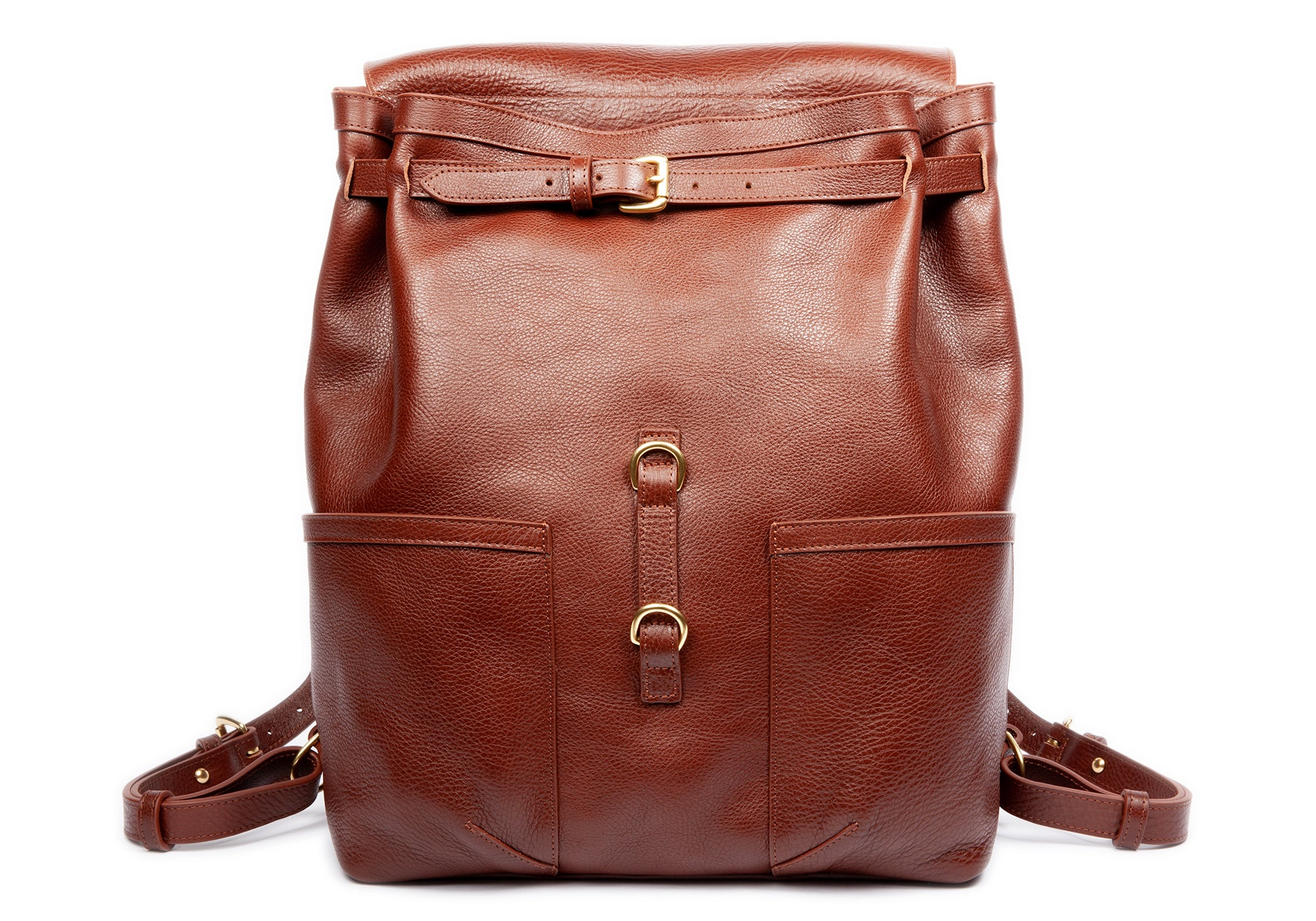 Front Leather Pocket View of Leather Knapsack Chestnut
