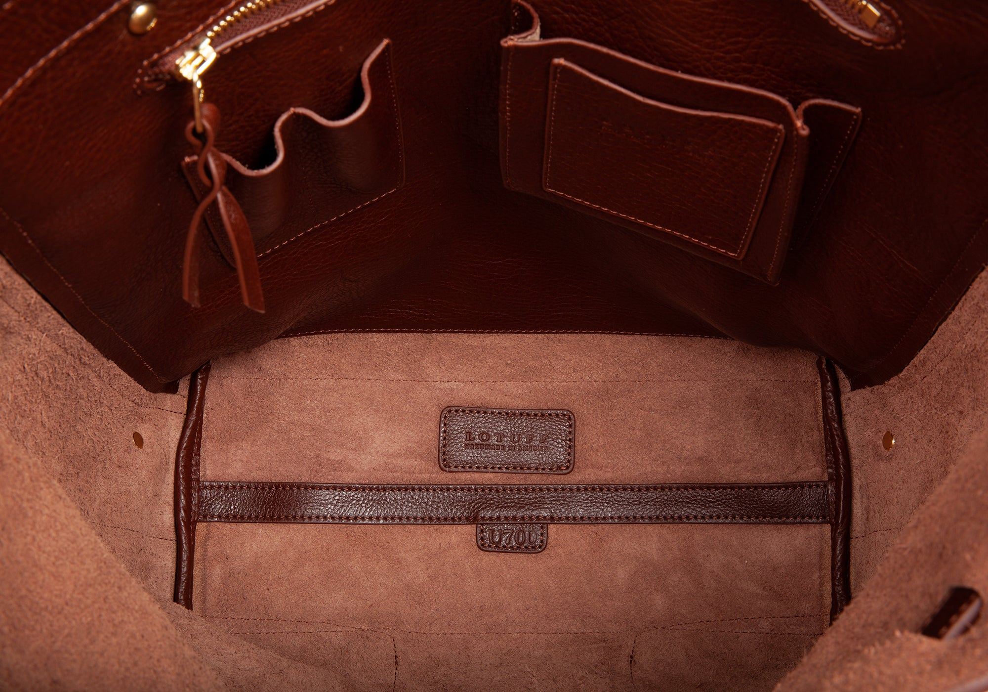 Inner Leather Space View of Leather Knapsack Chestnut