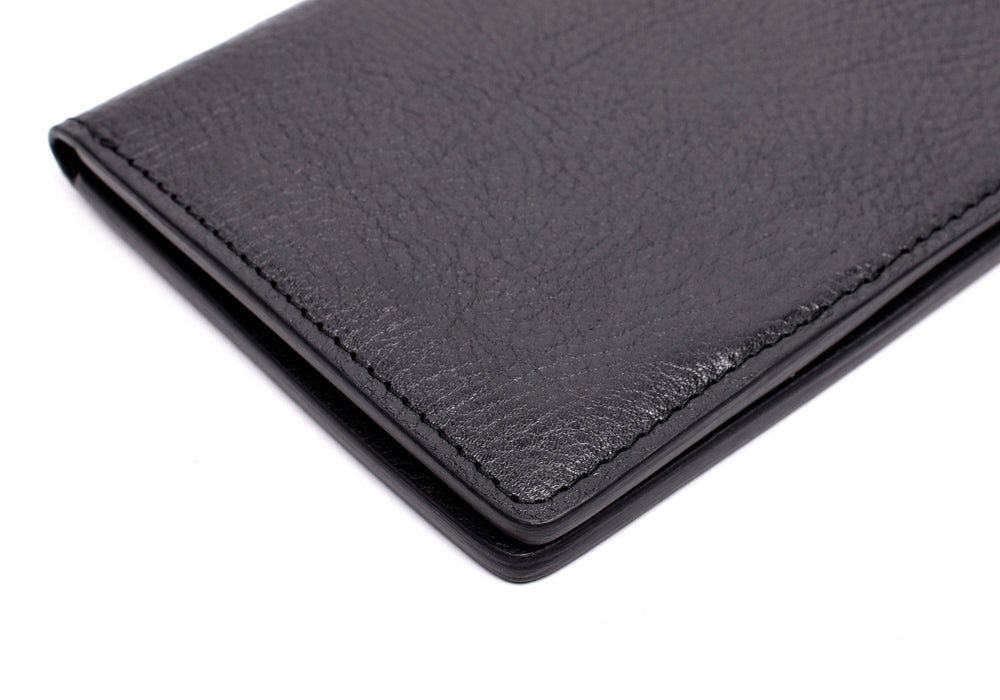 Side View Close of Leather Passport Wallet Black