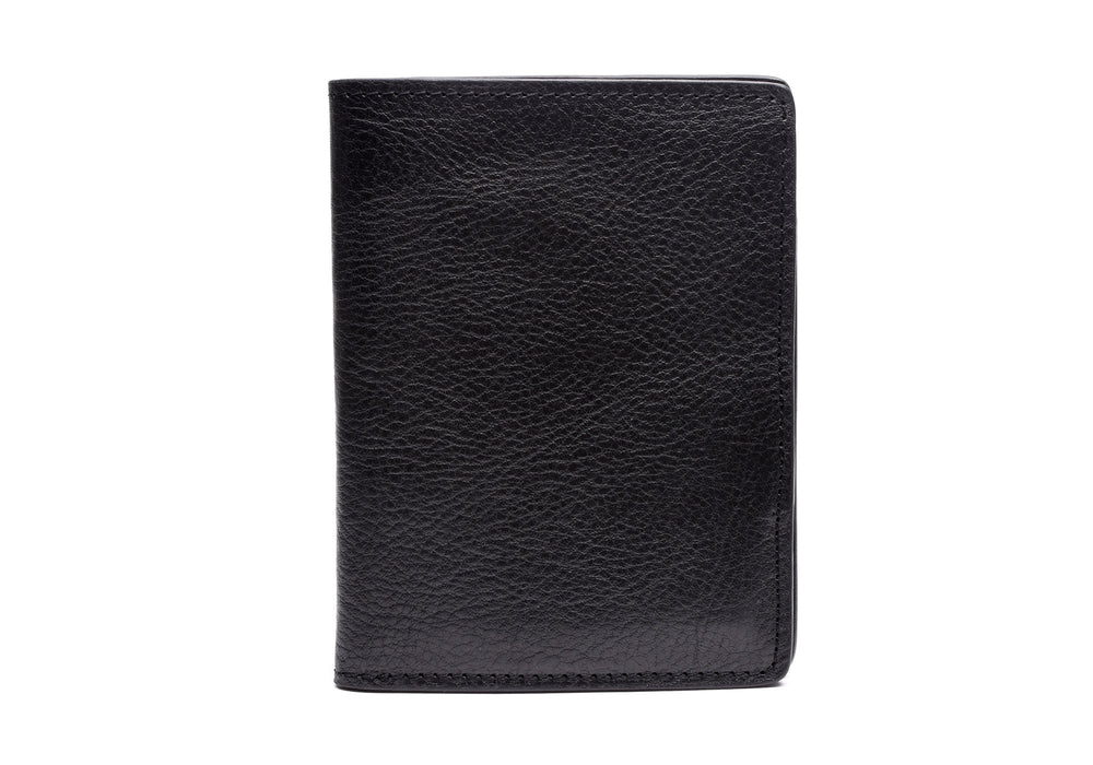Front View of Leather Passport Wallet Black