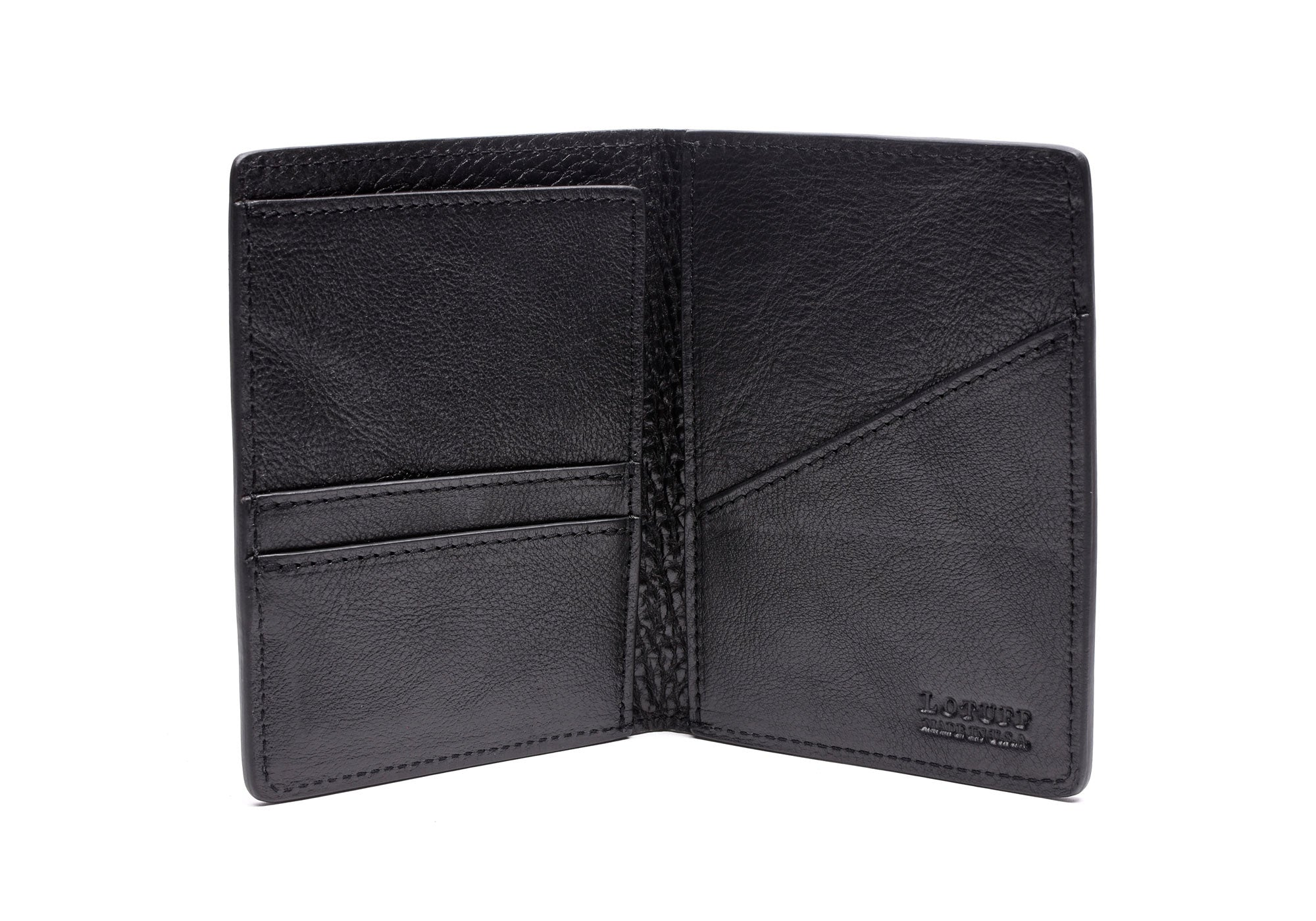 Open Front View of Leather Passport Wallet Black