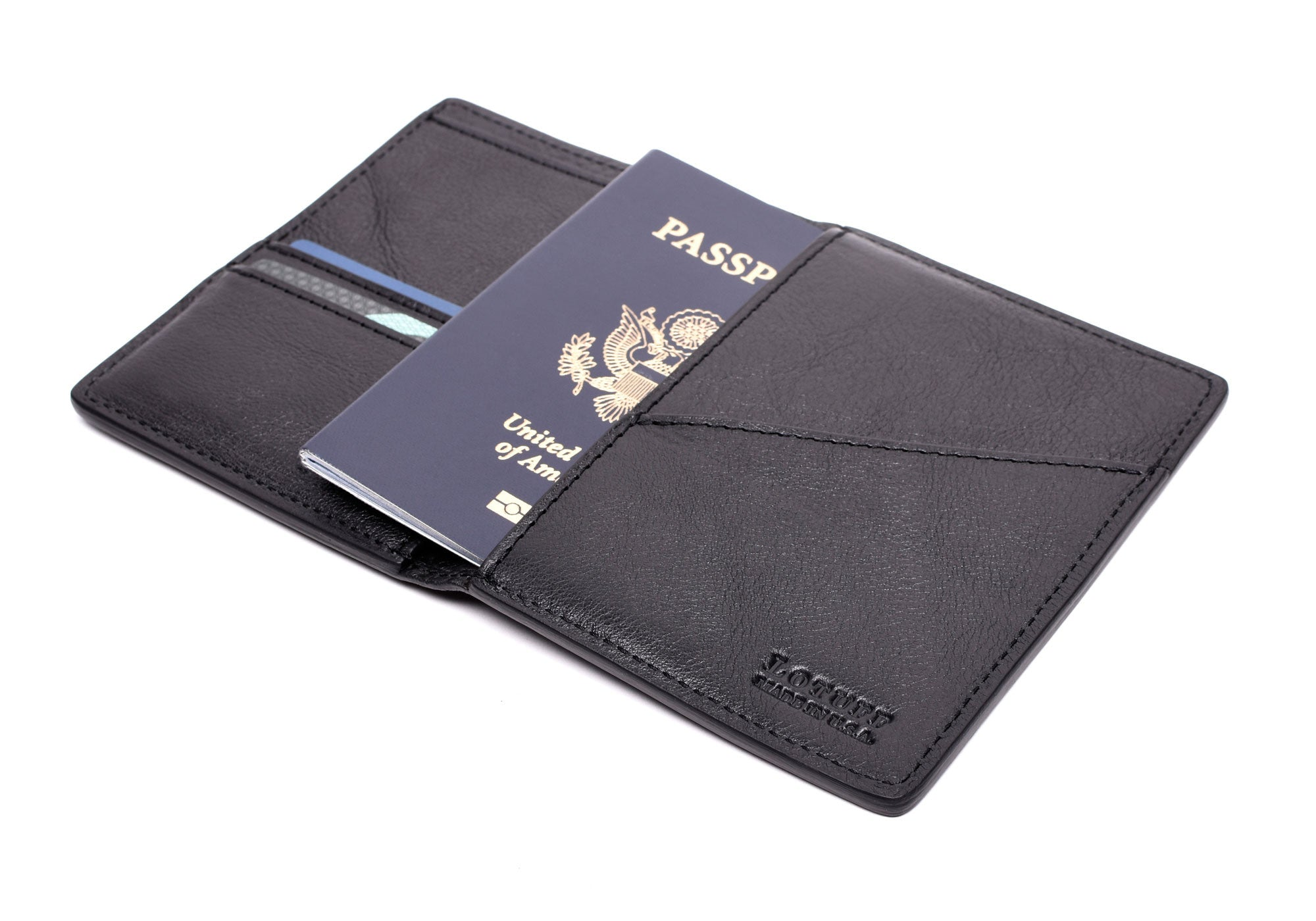 Open Side View of Leather Passport Wallet Black