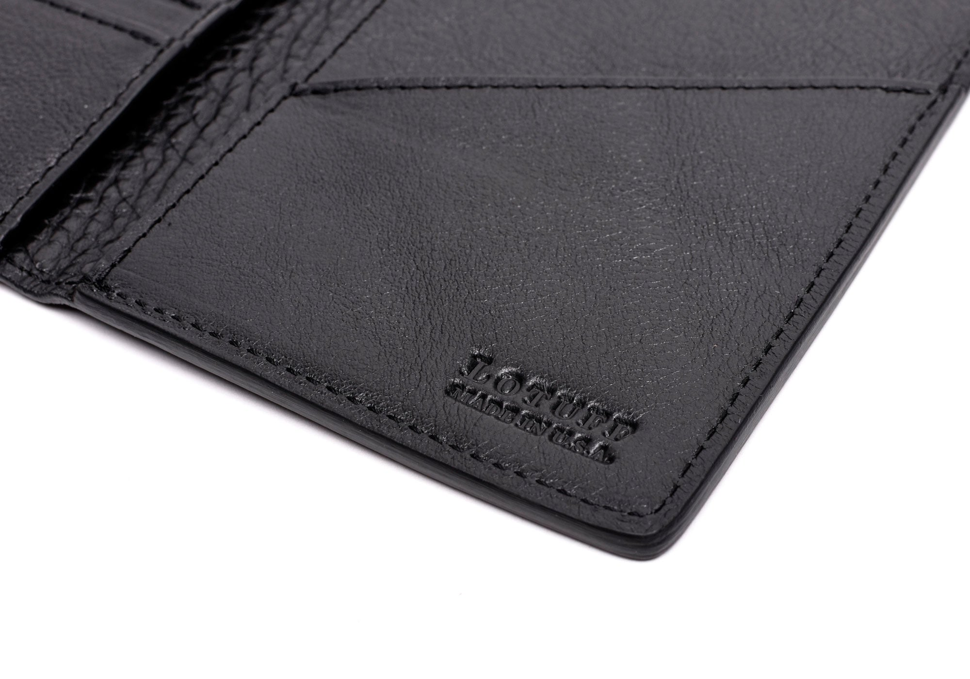 Close Open Side View of Leather Passport Wallet Black