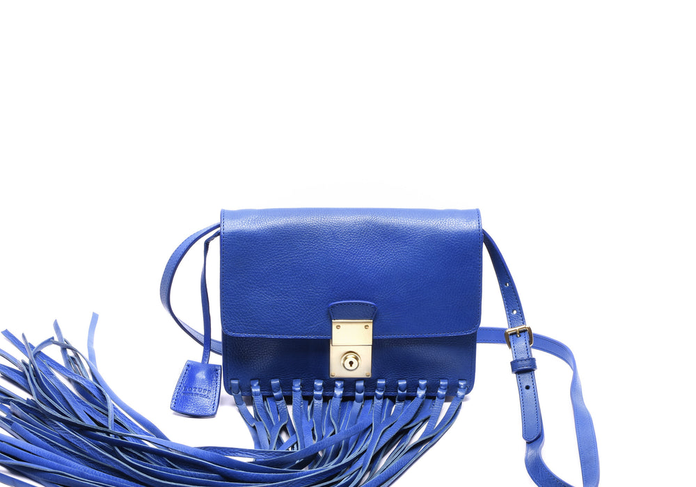 Custom Fringed Leather Locking Crossbody Electric Blue|Front Leather View