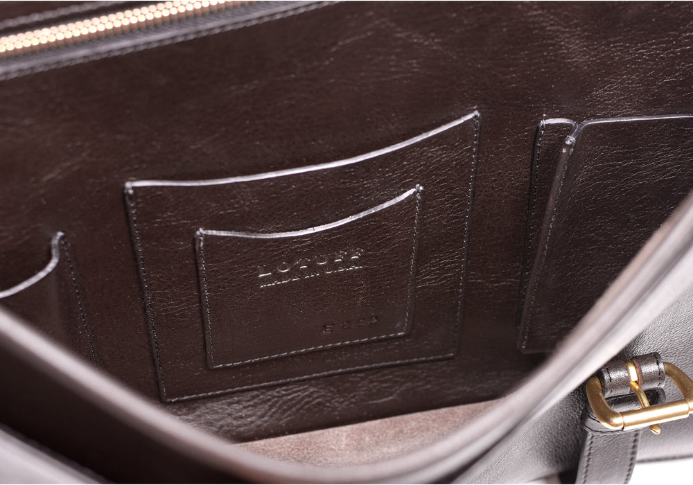 Inner Leather View of English Briefcase Chocolate