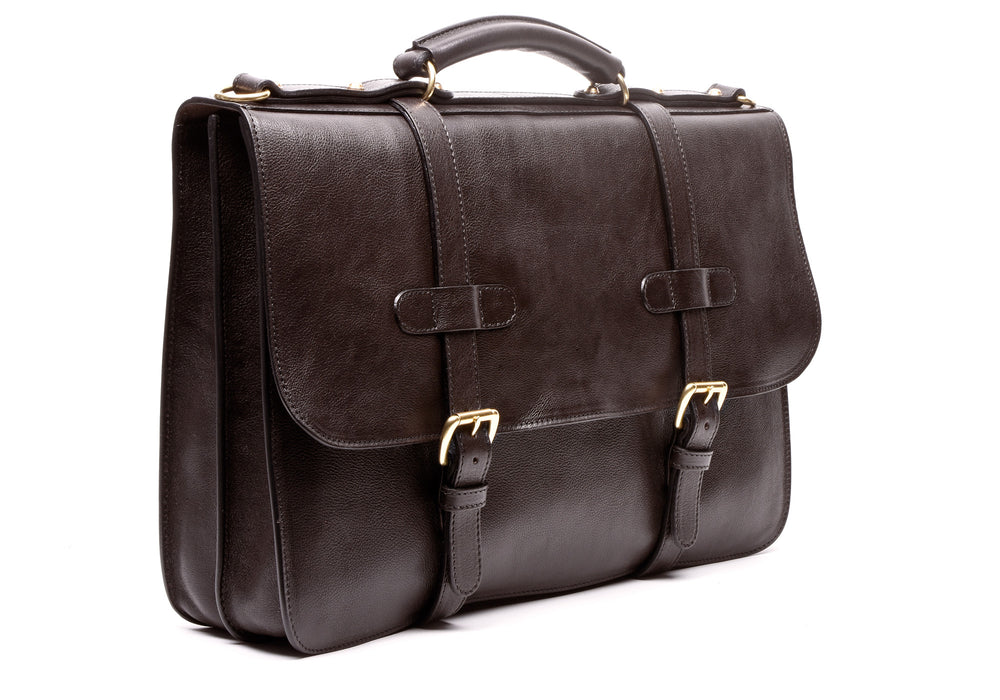 English Leather Briefcase Chocolate
