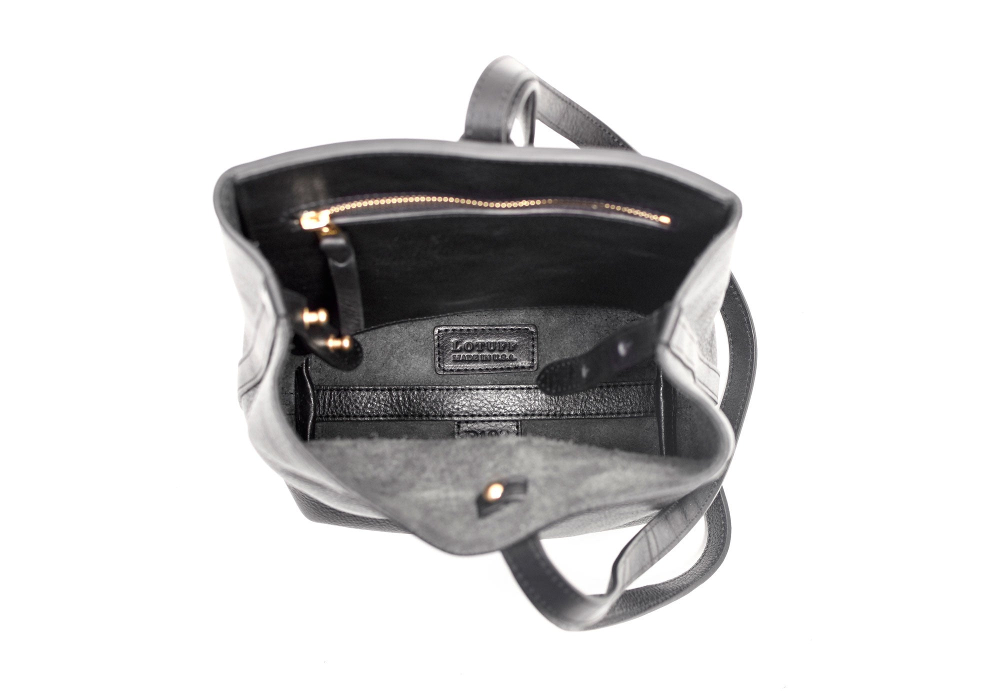 Inner Leather View of The Mini Sling Backpack Black
