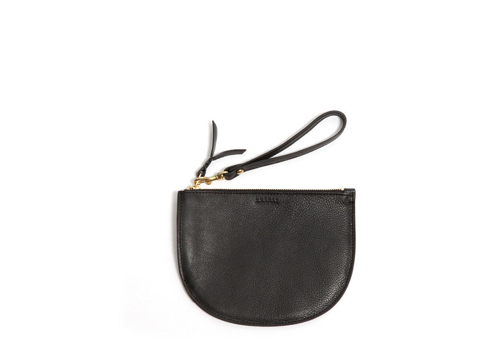 Round Pouch Black|Front Leather View