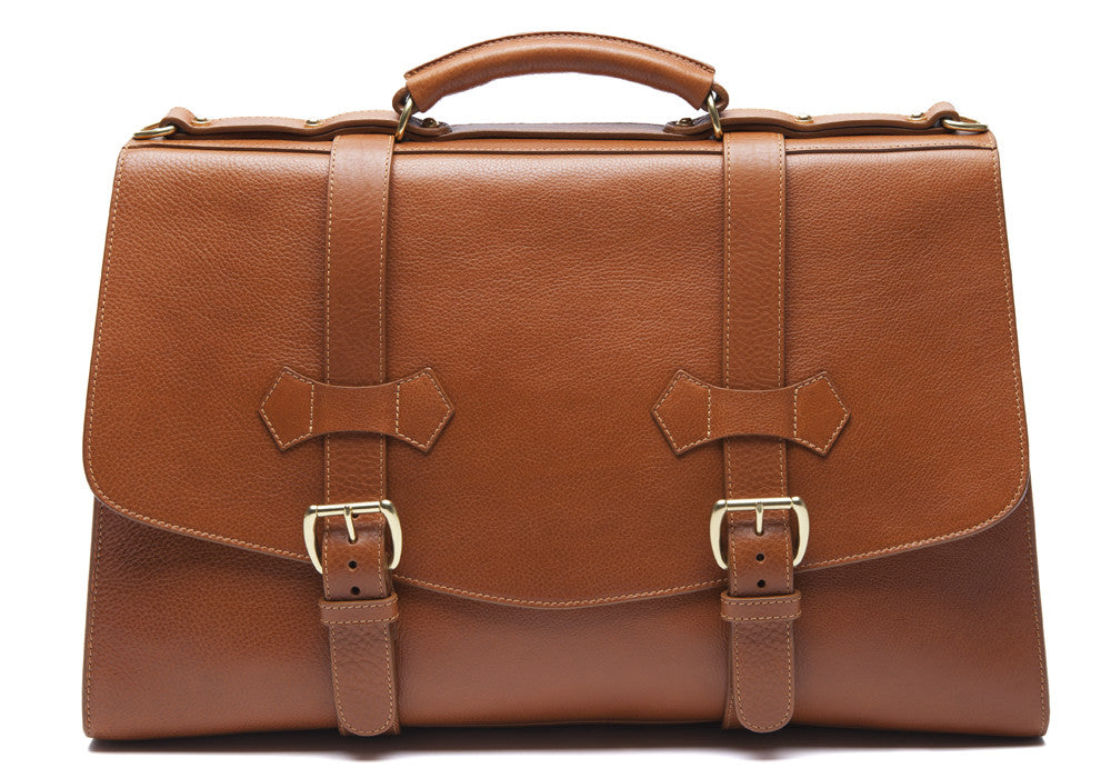 Front Leather View of Leather Satchel Tan