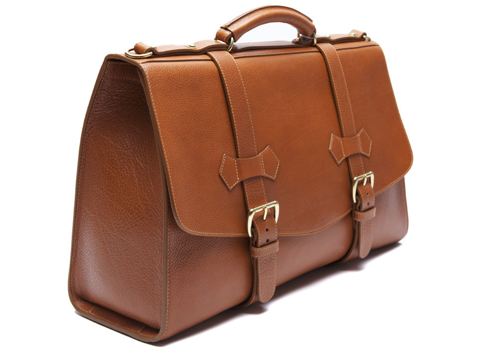 Front Side Leather View of Leather Satchel Tan