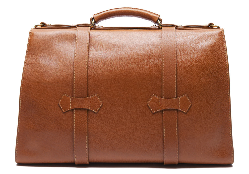 Back Leather View of Leather Satchel Tan