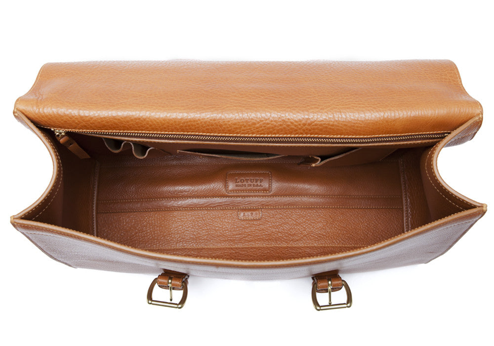 Inner Leather View of Leather Satchel Tan