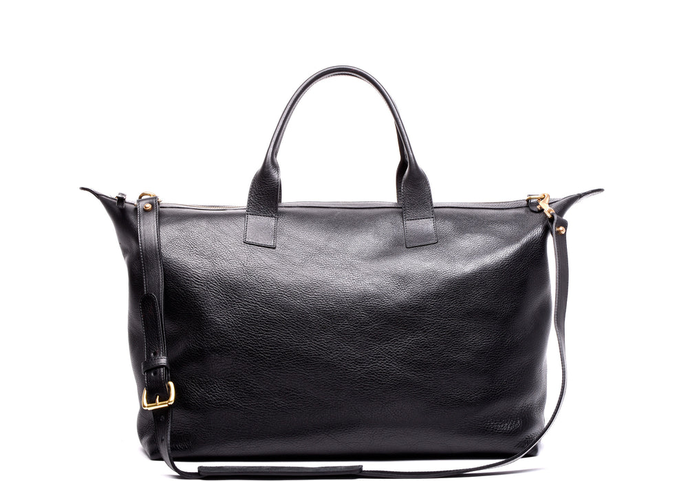 Front Leather View of Leather Weekender Tote Black