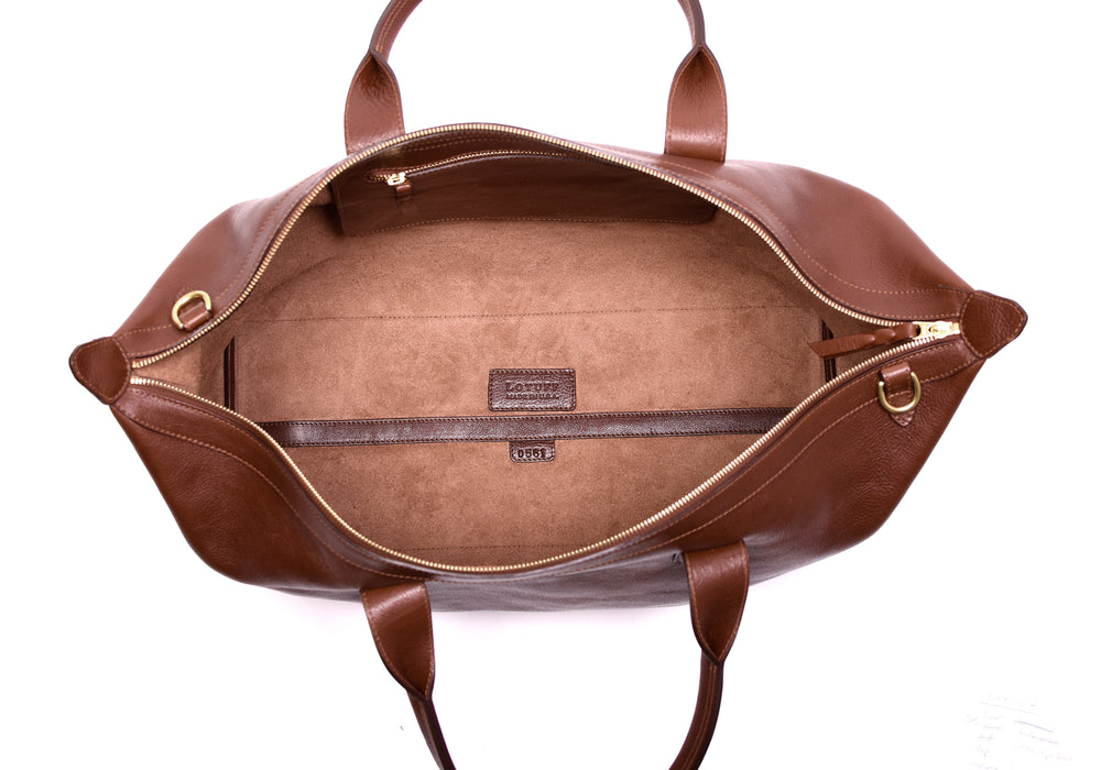 Leather Weekender Tote Chestnut