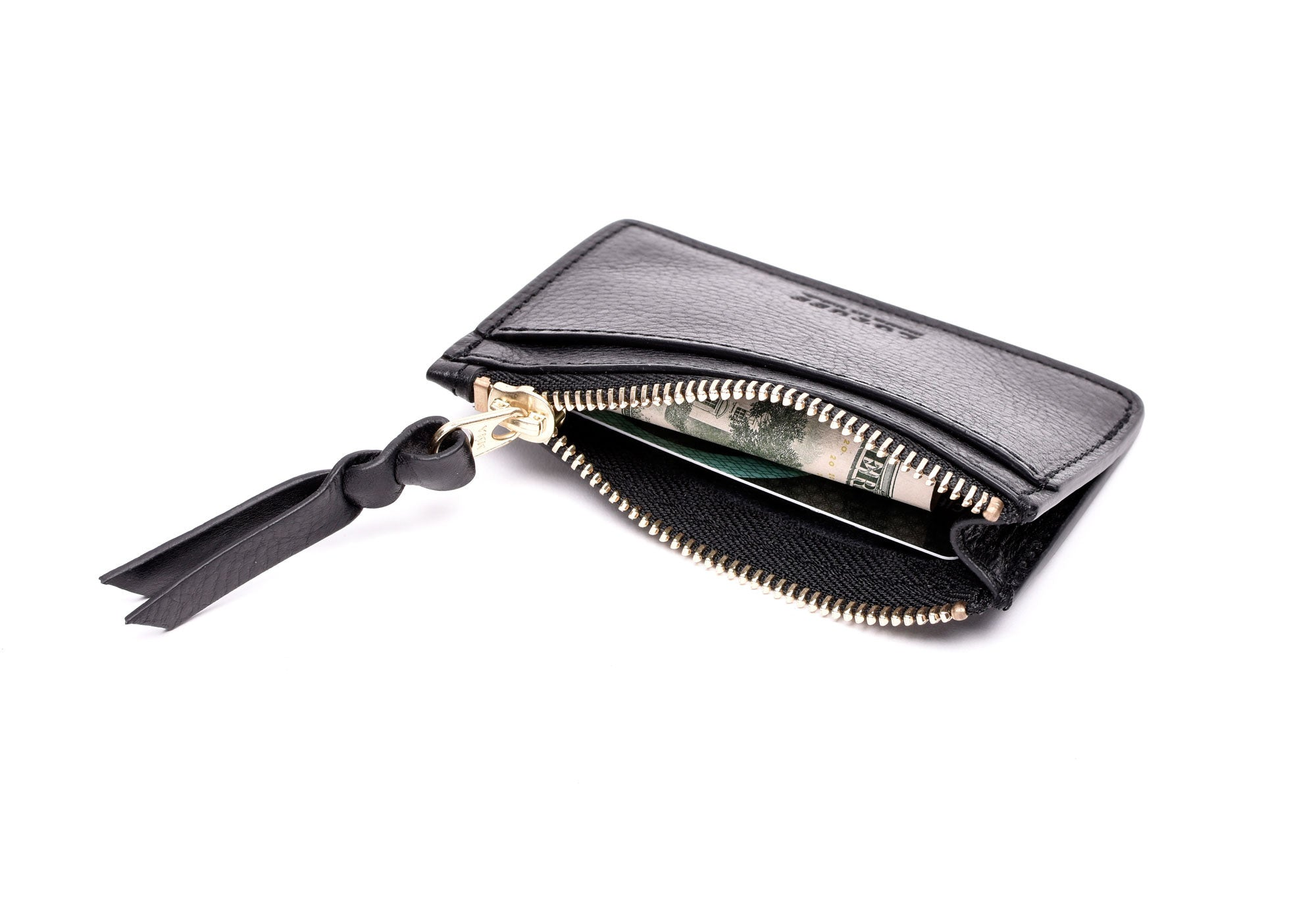 Side View Full Open of Zipper Credit Card Wallet Black