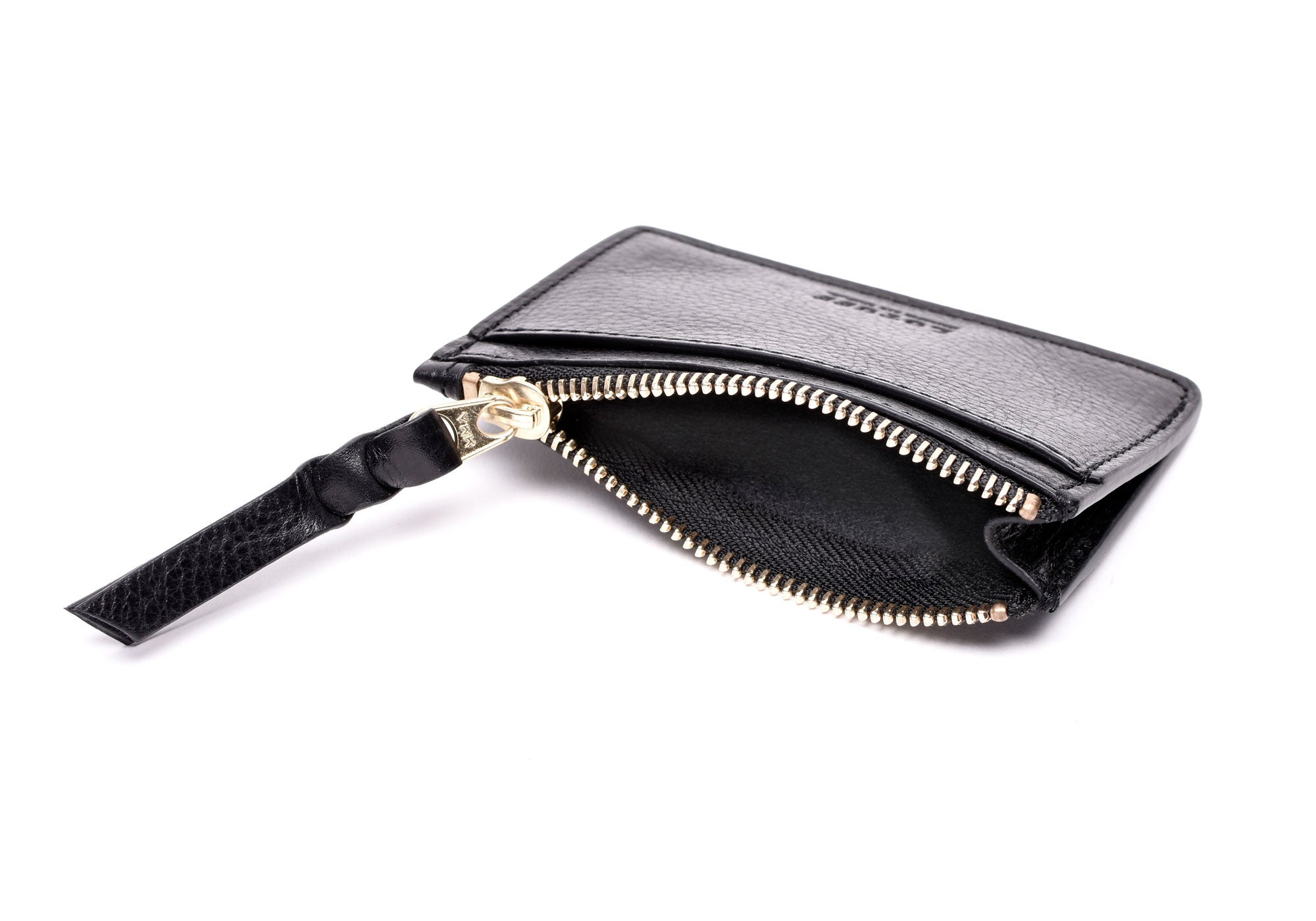 Side View Open Empty of Zipper Credit Card Wallet Black