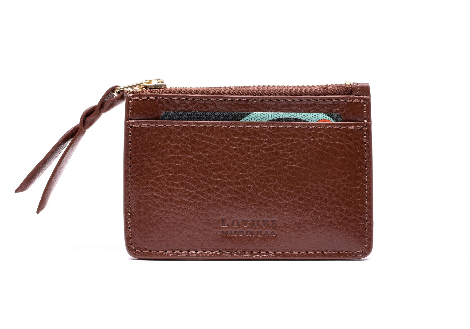 Front View of Zipper Credit Card Wallet Chestnut