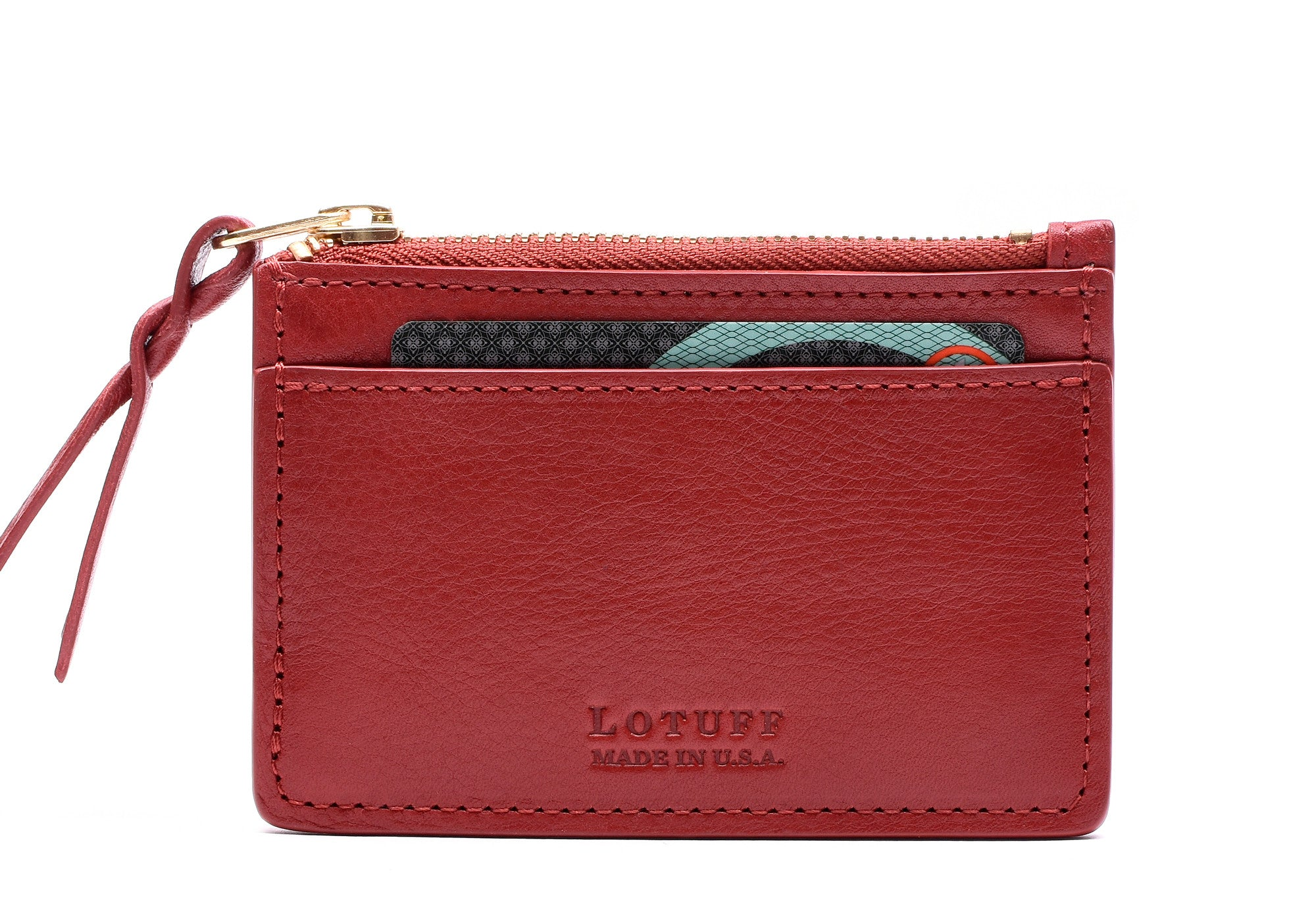 Front View of Zipper Credit Card Wallet Red