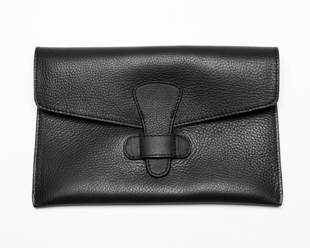 Front Leather View of Leather iPad Mini Case Black