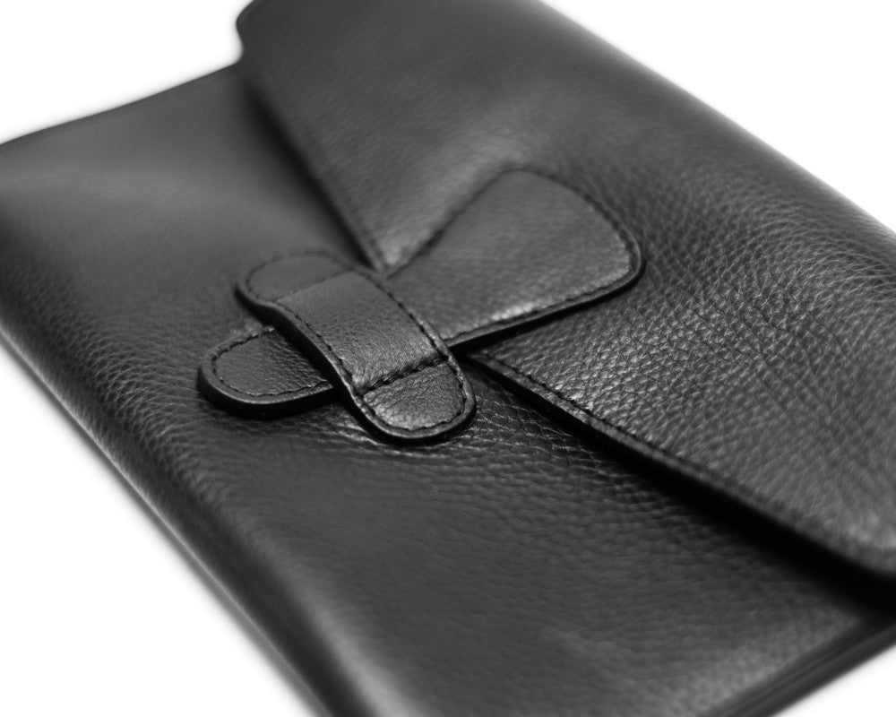 Side Leather View of Leather iPad Mini Case Black