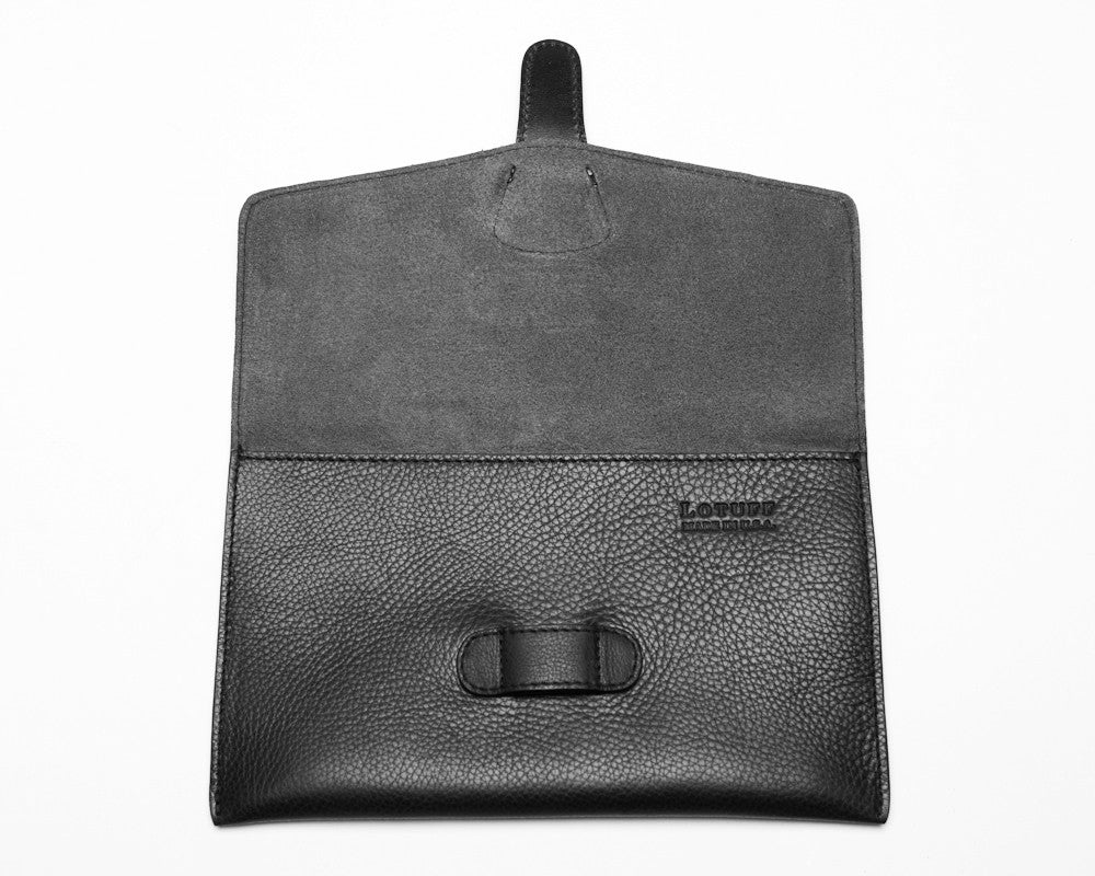 Front Open View of Leather iPad Mini Case Black