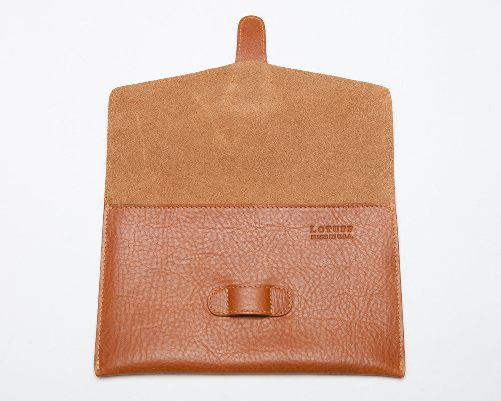 Front Open View of Leather iPad Mini Case Tan