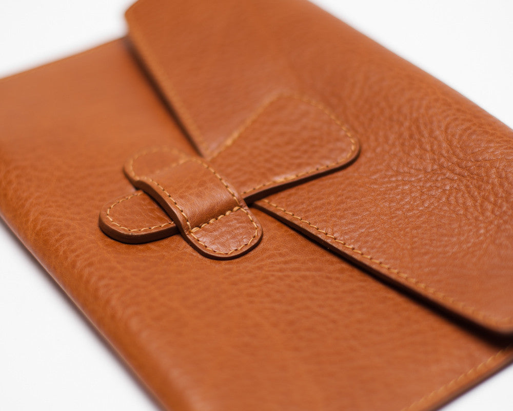 Close Up View of Leather iPad Mini Case Tan