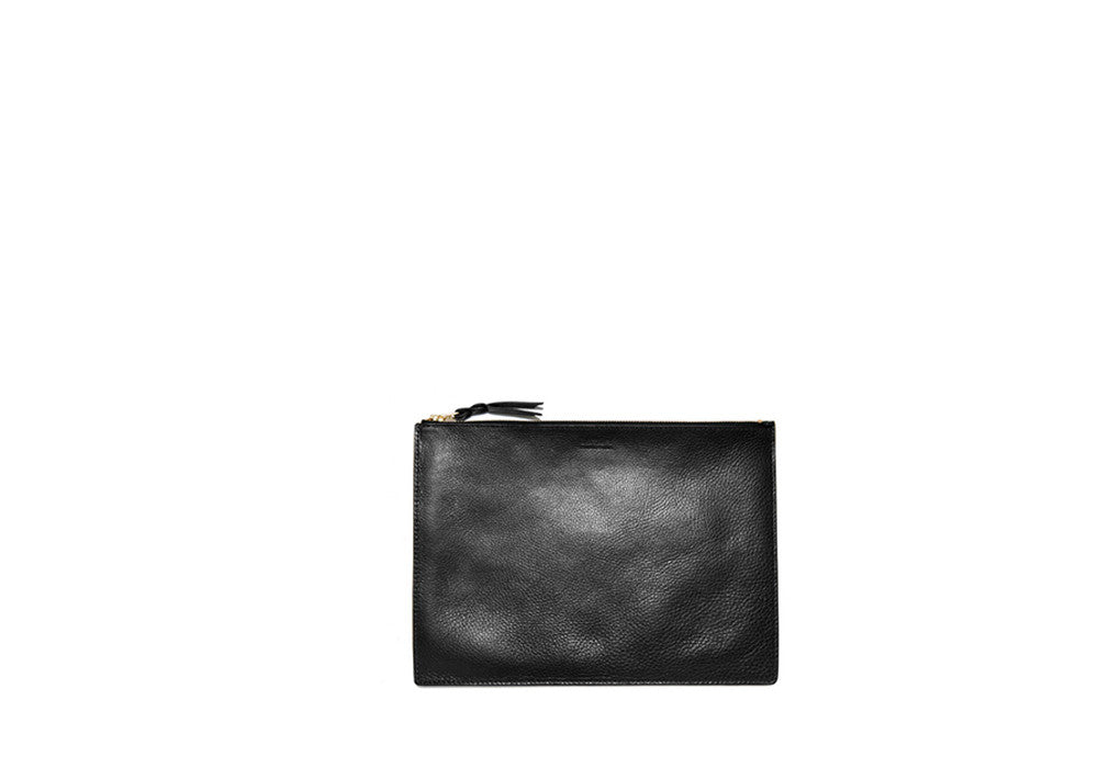 Zipper Pouch #7 Black|Front Leather View